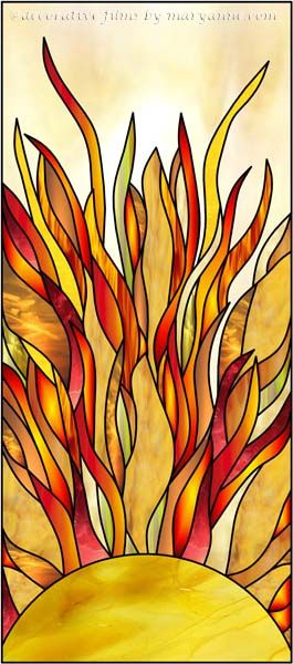 Sunburst 2B Faux Privacy Stained Glass Clings and Window Films