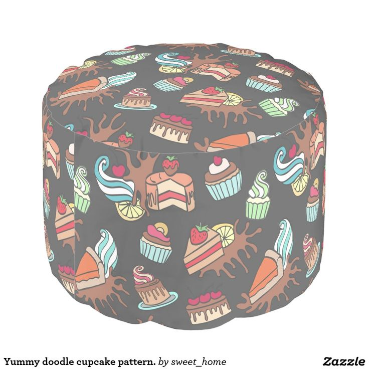 Yummy doodle cupcake pattern. round pouf  Sweet pretty cup cake illustration. Cartoon style. For home design and decor. Beautiful home accessories ideas.
