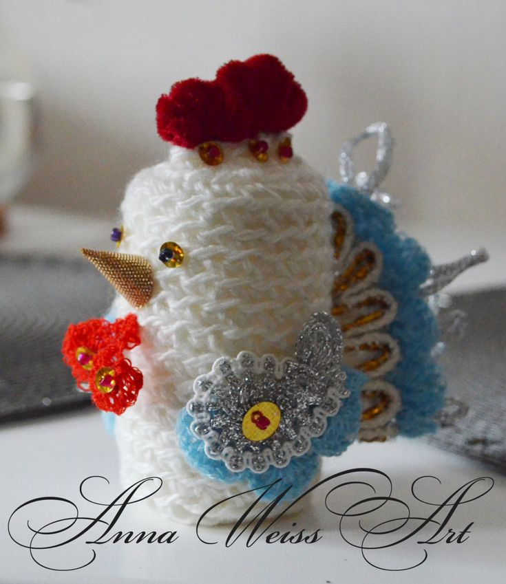 Christmas Decoration Rooster hand knitted art object New Year emblem good luck cozy amulet chicken hen broody bright toy statue home decor by AnnaWeissArt on Etsy