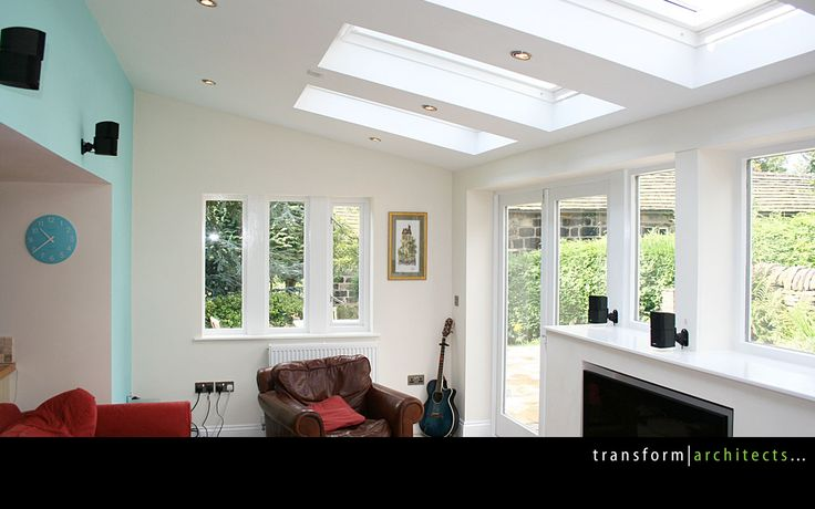 Lean-to extension exposed soffit and roof lights