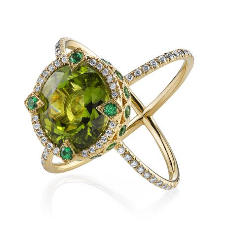 Feels like the ring of a fancy, yet evil supervillian....  Erica Courtney X ring in gold with diamonds, peridot, and tsavorite