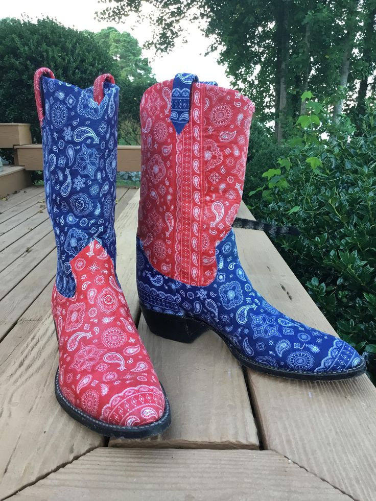 Bandana western boots for men and women, unique fabric decoupage water resistant design, real SHOWSTOPPERS by BethsReBoot on Etsy