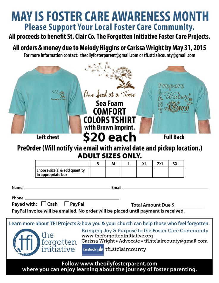 One Seed Tshirt order form Foster care Pinterest Foster care - t shirt order form