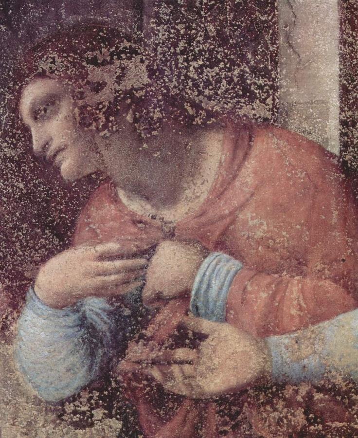 LEONARDO DA VINCI (1452 - 1519) - The Last Supper, detail (before restoration - 1498). Convent of Santa Maria delle Grazie, Milan, Italy.