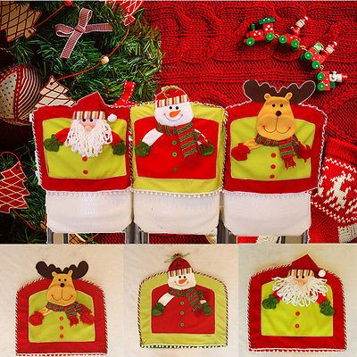 Santa Snowman Elk Chair Back Cover Christmas Xmas Dinner Table Party Home Decor