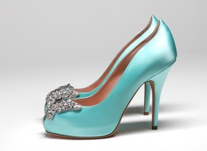 Tiffany blue satin heels. #wedding #high #heels #shoes #tiffany #blue #diamante #jewels #bridal #bride.