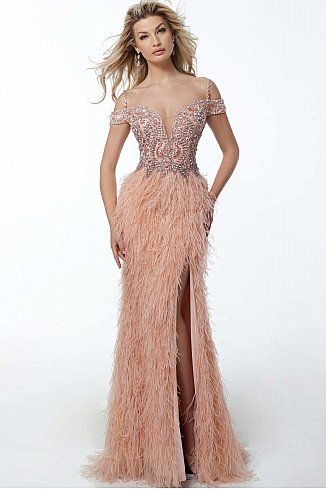 d842f3134dd9 Blush Off the Shoulder Feather Skirt Evening Dress 59057 #Jovani  #EveningDress #FormalGown #BlackTie #FormalEvent #2018collection