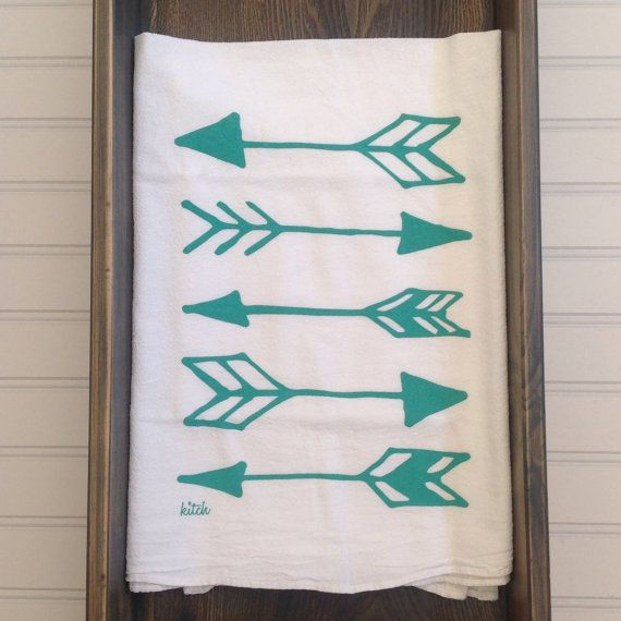 Tea Towel Aqua Teal Mint Arrows Flour Sack by KitchStudios