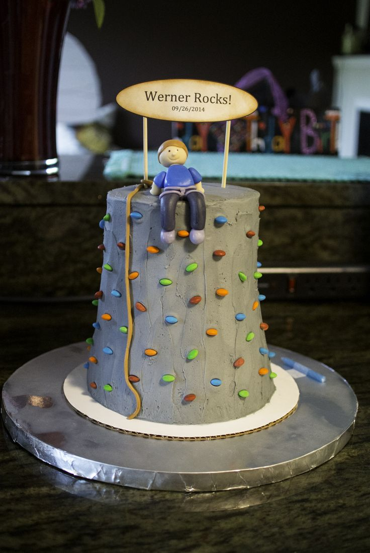 Rock climbing wall cake for my nephew