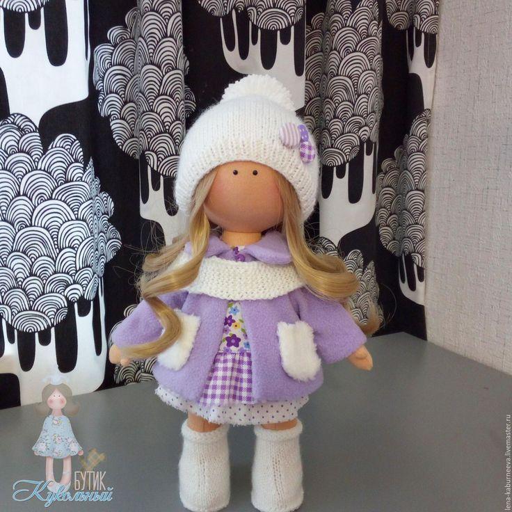 Купить Куколка в пальтишке. - сиреневый, белый, хлопок 100%, трикотаж хлопок, пряжа акрил