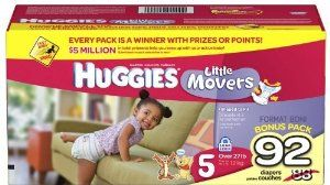 Huggies Little Movers Bonus Large Case Diapers -- size: size 5 by Huggies. $44.99. Huggies@ Little Movers Diapers Shaped to fit your active baby HUGGIES@ Little Movers Diapers are shaped to fit babies on the go, and come with the proven leakage protection of the HUGGIES@ Leak Lock@ System. Plus, HUGGIES@ Little Movers Diapers are more absorbent than Pampers Swaddlers with Dry Max. - Specially shaped to fit babies as they move and play - SnugFit@ waistband and grip tabs ...