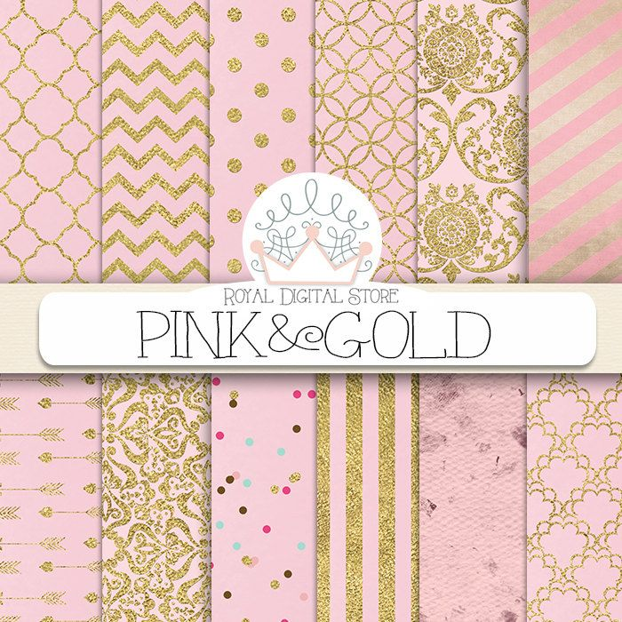"""Pink Digital Paper: """" Pink and Gold"""" with pink background, pink scrapbook paper, pink printable, pink and gold patterns with damask, chevron #pink #gold #damask #partysupplies #planner #digitalpaper #scrapbookpaper #wedding"""
