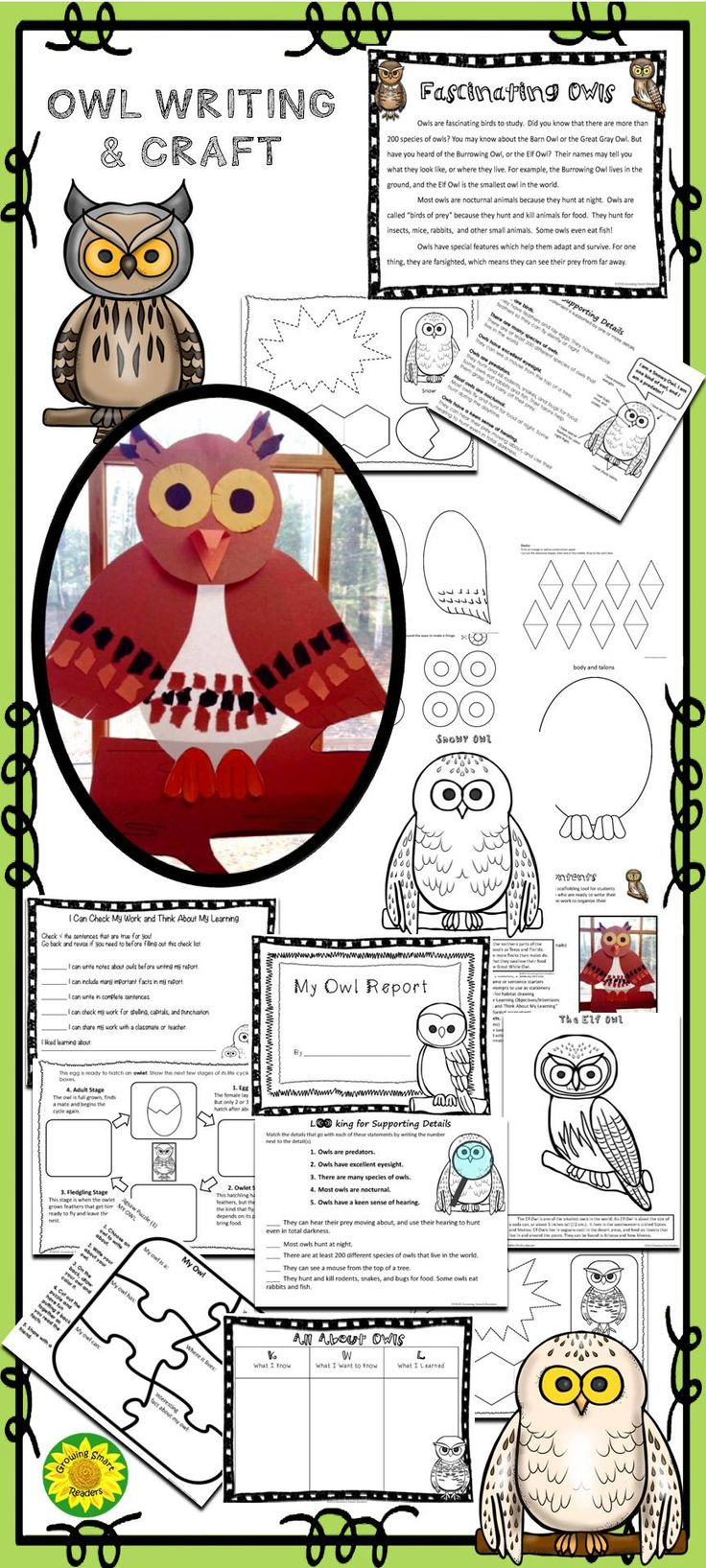 Read facts about owls, write about owls, and make a fun Long-Eared Owl! With a 2-page informational reading passage, owl pattern and report writing templates! This owl writing packet should be helpful as a scaffolding tool for students who are hesitant about writing, and for those who are ready to write their first short report. This will give them the frame-work to organize their thinking in complete sentences.