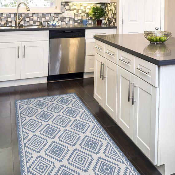 linoleum rug with printed blue kilim pattern art mat. Black Bedroom Furniture Sets. Home Design Ideas