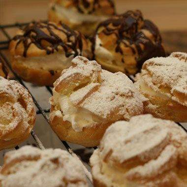 Persian Cream Puffs (Noon'e Chamei) ~ These cream puffs are a completely French invention. They look so perfectly beautiful!
