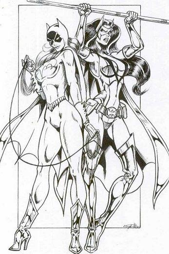 Huntress & Batgirl_1 Comic Art