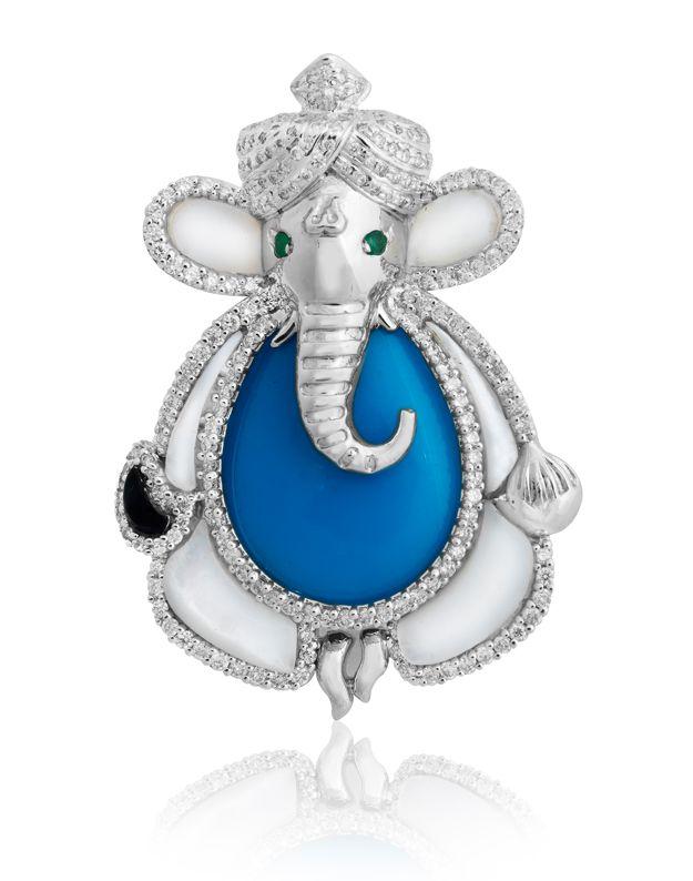 Collar con Colgante Divina Lord GANESHA OM Lucky Elefante India Cadena Joyería Hindú