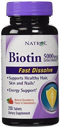 Natrol Biotin 5000 mcg Fast Dissolve Tablets Strawberry 250-Count Extra Strength