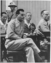 General Tomoyuki Yamashita (second right) was tried in Manila between October 29 and December 7, 1945, by a U.S. military commission relating to the Manila Massacre and earlier occurrences in Singapore, and was sentenced to death. The case set a precedent regarding the responsibility of commanders for war crimes, and is known as the Yamashita Standard.