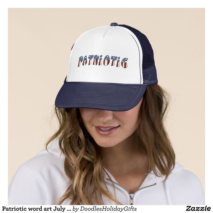Patriotic word art July Fourth Holiday hat - Urban Hunter Fisher Farmer Redneck Hats By Talented Fashion And Graphic Designers - #hats #truckerhat #mensfashion #apparel #shopping #bargain #sale #outfit #stylish #cool #graphicdesign #trendy #fashion #design #fashiondesign #designer #fashiondesigner #style