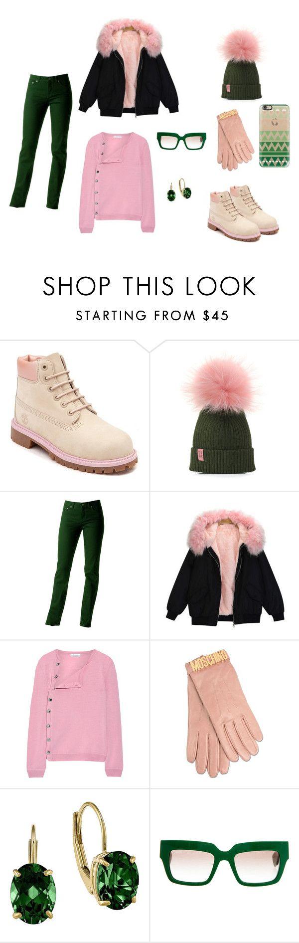 """Emerald pink"" by ustine on Polyvore featuring moda, Timberland, Ralph Lauren, Altuzarra, Moschino, Prada i Casetify"