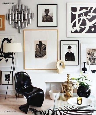 black and white living room interior // gallery walls