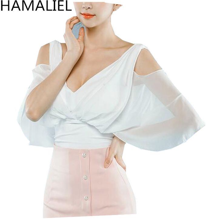 HAMALIEL High Quality Summer Women Shirt Top 2017 Fashion Chiffon Patchwork Sexy V Neck Backless Batwing Sleeve Blouse  #Affiliate
