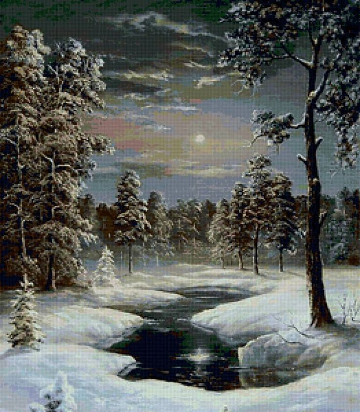Зимняя ночь - Схемы вышивки
