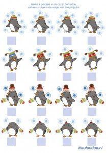 Zoek 2 dezelfde plaatjes, kleuteridee.nl, thema Noordpool & Zuidpool, free printable