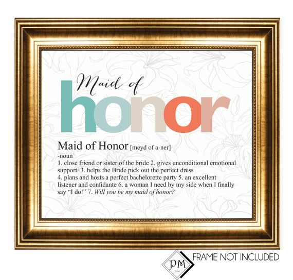 Gift Idea For Maid Of Honor From Bride Unique