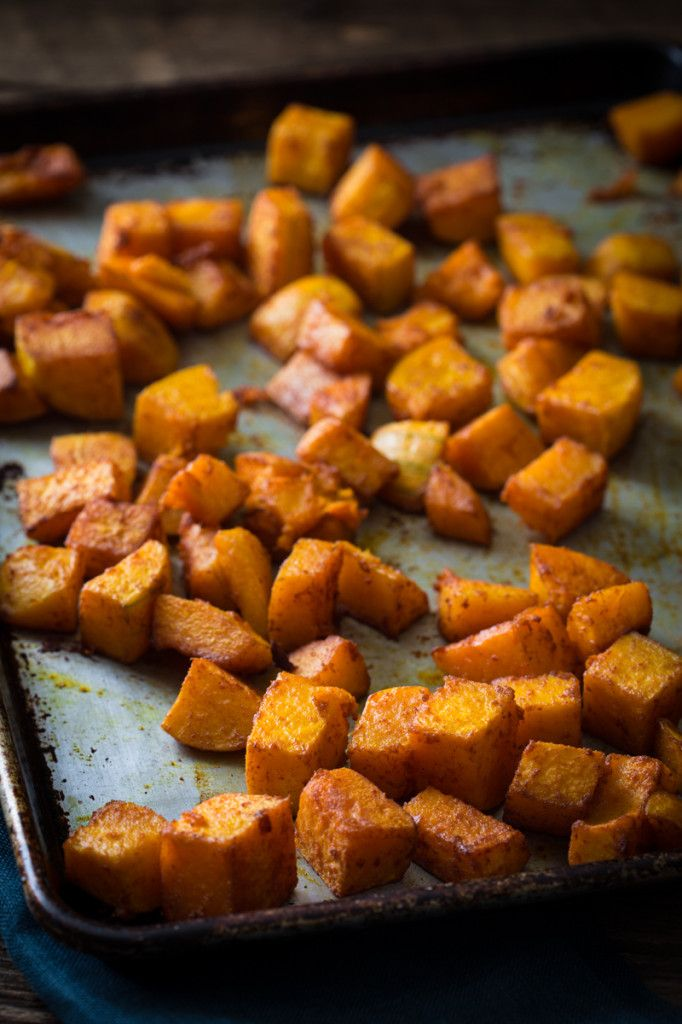 Roasted Butternut Squash with Smoked Paprika and Tumeric Recipe only 10 mintes of effort, gluten free, vegan and paleo on healthyseasonalrecipes.com