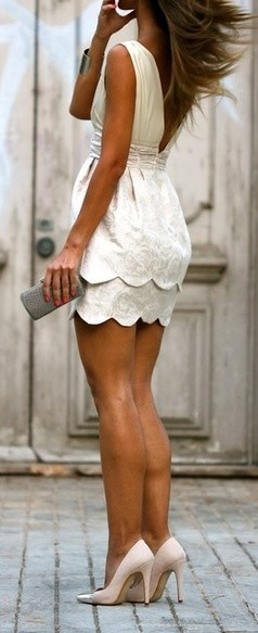 Scalloped Mini Dress. Great for the rehearsal dinner or a 2nd wedding dress.