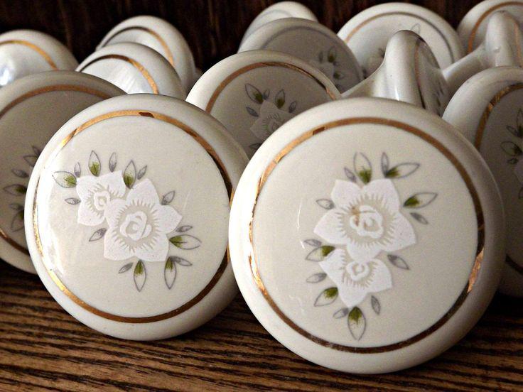 Porcelain Door Pulls, 18 Vintage Door Pulls, 18 Porcelain Door Knobs, Vintage Decor, Cottage Chic Decor by AgedwithGraceVintage on Etsy