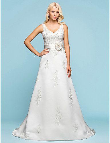 A-line V-neck Court Train Satin Wedding Dress - USD $ 197.49