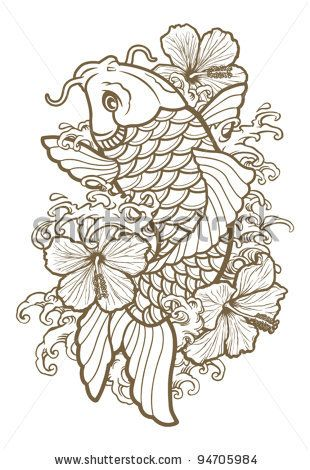 koi fish and flower drawing | Koi Fish And Hibiscus Line Stock Vector 94705984 : Shutterstock