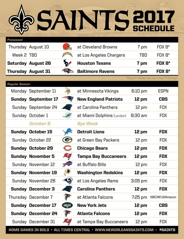 Saints 2017 Schedule WHODAT!!