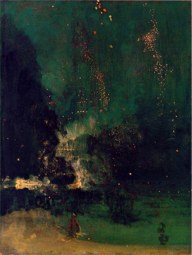 Nocturne in Black and Gold: Falling Rocket/ James Abbott McNeill Whistler/ neoclassical/ 1875 - #rarepearloves #stunning - C O L O U R