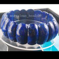 "Envío Gratis Joyería Moda 12x25mm Naturales Lapis Lazuli de Media Luna Perlas Tramo Pulsera 7 ""G6600"