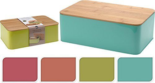 Brotkasten mit Bambusdeckel Brotbox Brotbehälter Brotkiste Box Behälter Metall Bambus Deckel UNI (Mint)