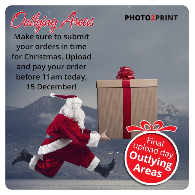 Final upload day for Outlying areas. Get your orders in before 11am today, 15 December!  We are closing @ 12:00pm on Thursday 21st December 2017, but our servers will stay open 24/7 to receive your orders! #urgent #ordernow #avoiddisappointment