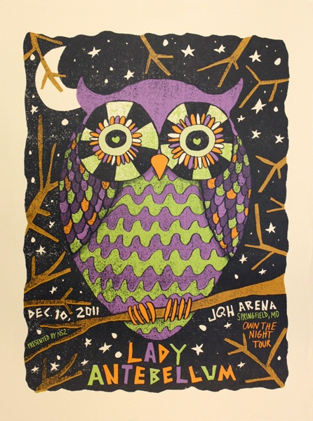 Lady Antebellum poster by Nate Duval: Blossoms Owl, Duval Art, Awesome Owl, Artsy Fartsi, Posters Ideas, Lady Antebellum Jqh, Concerts Posters, Owl Owl Owl, Antebellum Posters