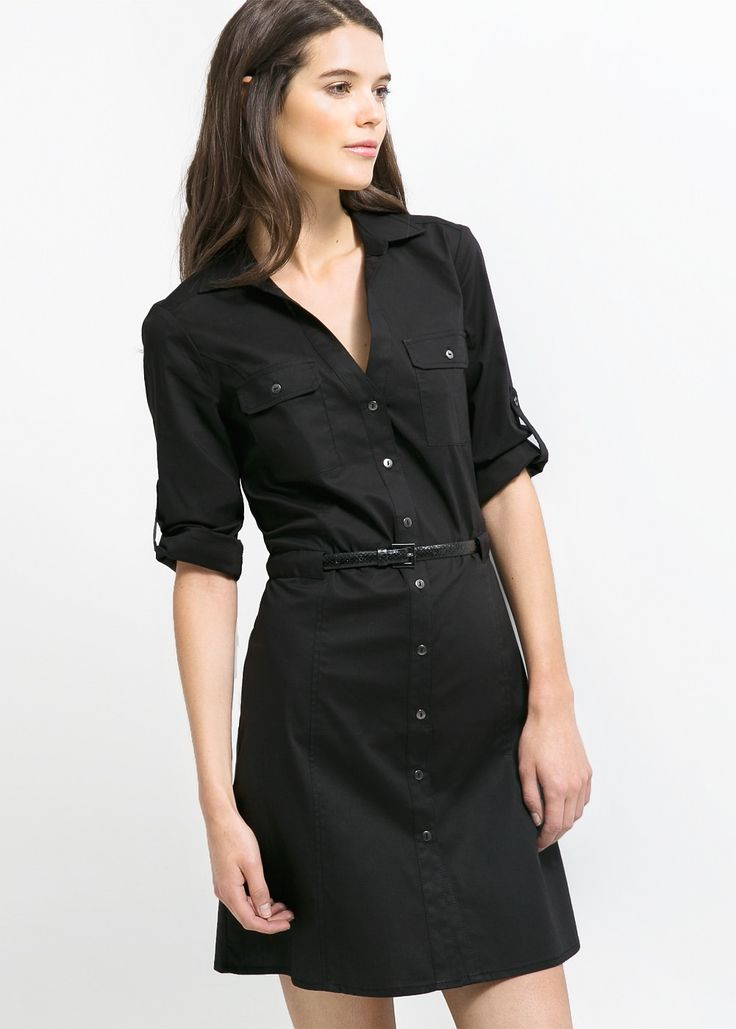 Belted-waist shirt dress