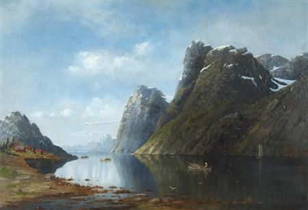 Artwork by Eilert Adelsteen Normann, Boaters Before a Sunlit Fjord, Made of Oil on canvas