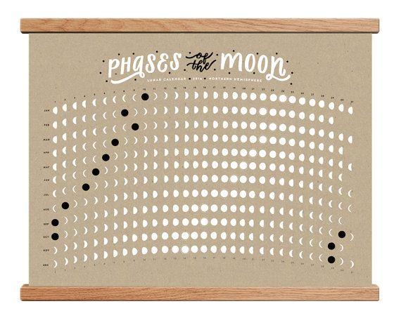 2016 Lunar Calendar / Moon Phase Calendar by WorthwhilePaper