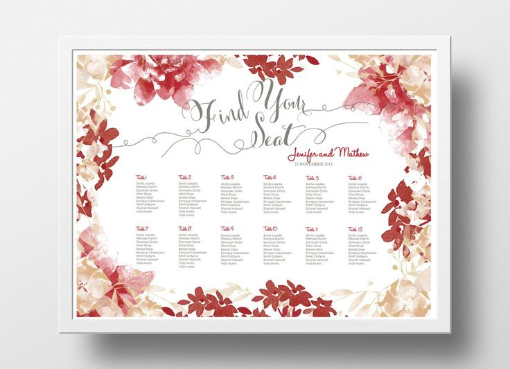 Wedding Seating Chart Poster DIY | Editable PowerPoint Template | Floral  Red U0026 Brown