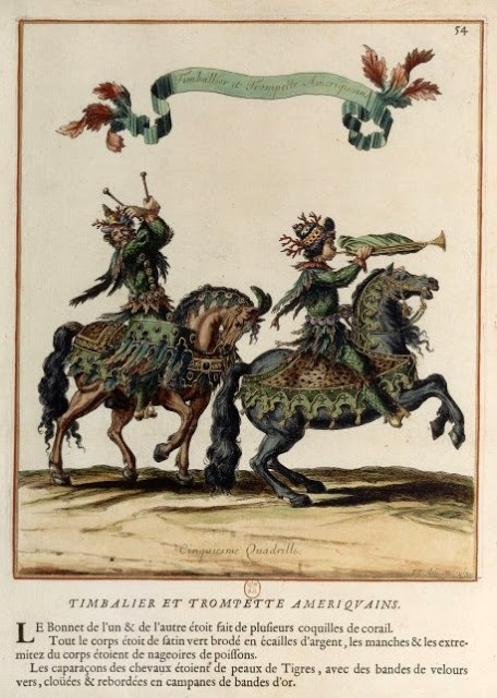 """American"" drummer and  in the Grand Carrousel of 1662. The bonnets of the horsemen were made of shell and Coral."