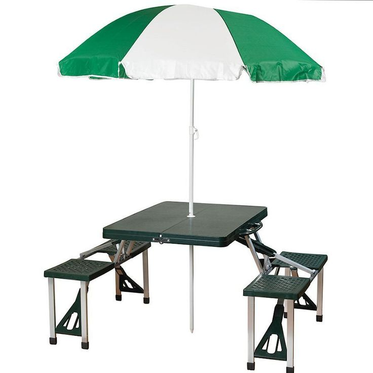 Picnic Table Umbrella Combo Green Folding Portable Outdoors Camping  Furniture In Sporting Goods, Outdoor Sports