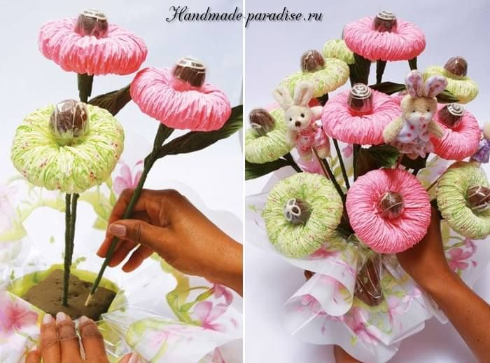 Candy bouquet of tissue paper.