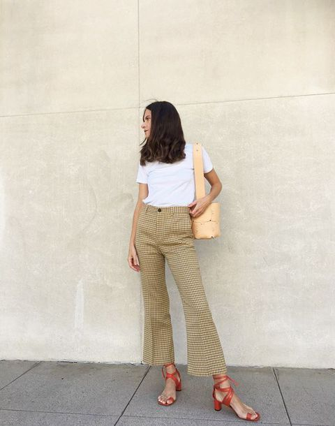 Cos Relaxed White Cotton T-Shirt Teamed With Patterned Cropped Flare Pants And Celine Toe Ring Sandals Plus Paco Rabanne Element Mini Hobo Shoulder Bag Street Style Tumblr