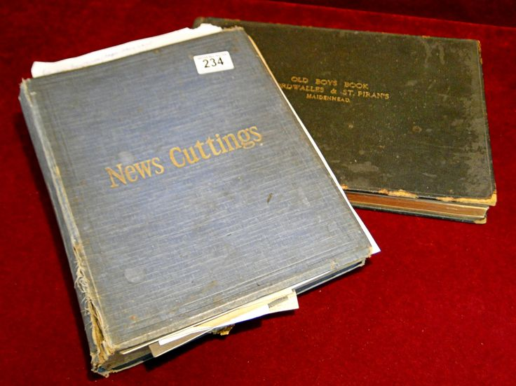 234) Early 20thC News Cuttings album containing many cuttings of military and topographical interest together with an Old Boys Book from a Maidenhead school Est. £30-£50